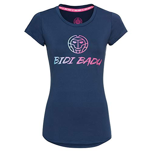 BIDI BADU Damen T-Shirt - Coletta Basic Logo Tee - Dark Blue, GRÖßE:L
