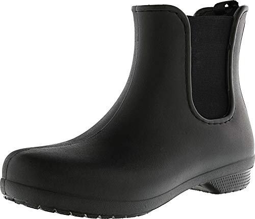 Crocs Women's Freesail Chelsea Ankle Rain Boots Water Shoes, Black/Black, 8 M US