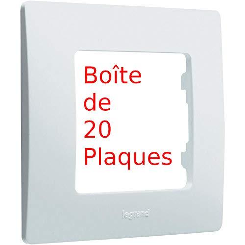 LEGRAND 665001 - Caja de 20 placas – Niloé placa simple blanca, blanco puro
