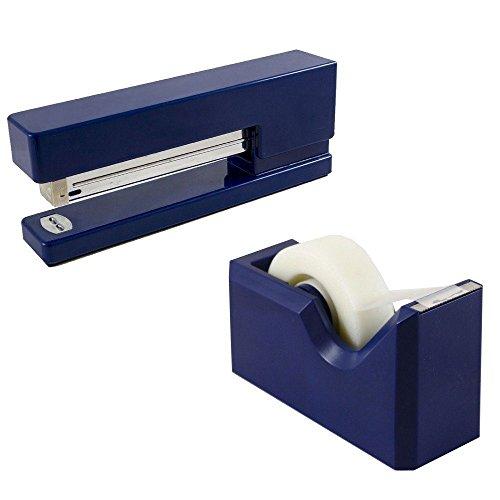 JAM PAPER Büro & Schreibtischset - 1 Tacker & 1 Klebebandspender - Marineblau/Blau - 2/Packung