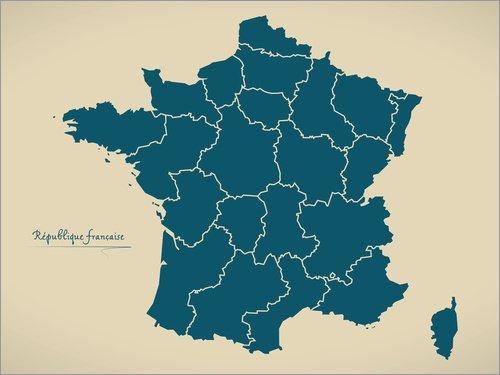 Posterlounge Acrylglasbild 40 x 30 cm: Frankreich Landkarte Modern Map Artwork Design Petrol von Ingo Menhard - Wandbild, Acryl Glasbild, Druck auf Acryl Glas Bild