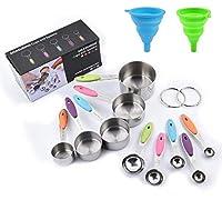 Photo Gallery feihao acciaio inossidabile misurare tazze 12pezzi,cucchiai dosatori,5 misurini di tazze e 5 misurini cucchiai cup,2 imbuti,per cucina cottura per misurare utensile da cucina.