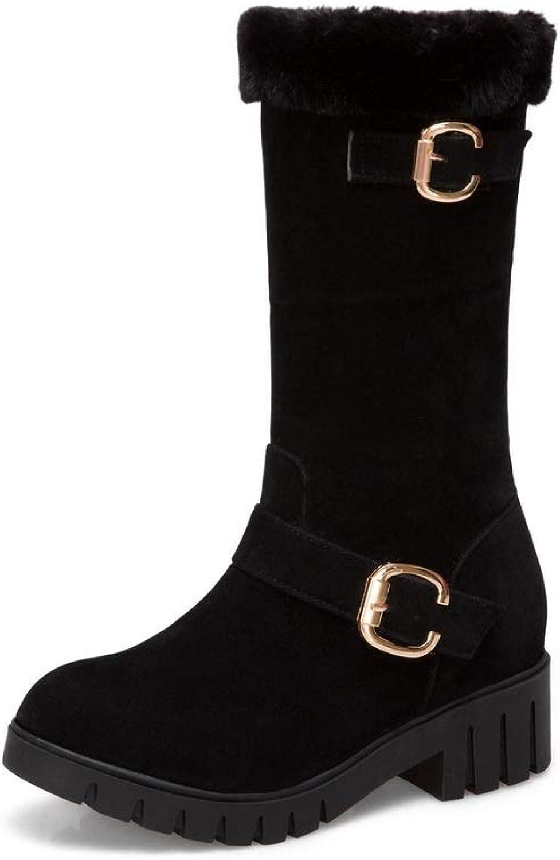AdeeSu Womens Square Heels Chunky Heels Metal Buckles Platform Imitated Suede Boots SXC03084