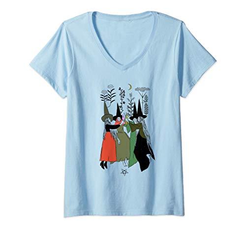 Mujer La Bruja Mala Vibracin La Bruja Miedo Mano Halloween Camiseta Cuello V