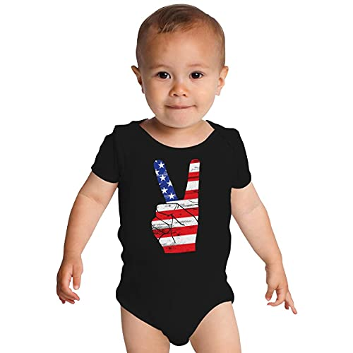 Huang Adult Patriotic Peace Sign Bandiera USA 4 luglio Memorial Day Baby Onesies bianco 12 Mesi