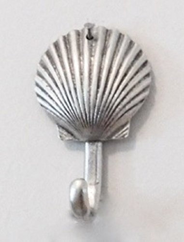 Medium Scallop Shell Decorative Wall Hook, Silver Metal Beach Decor