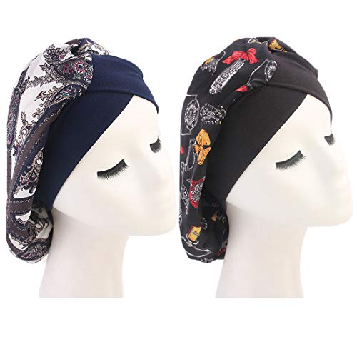 Joyfeel's Store Bonnet en Soie pour Femme, Confortable, Imprimé Fleurs, Bonnet en Satin, cheveux naturels, bouclés, Chute de cheveux, Protection Nuit et Jour (Pack of 2 (Navy+Black))