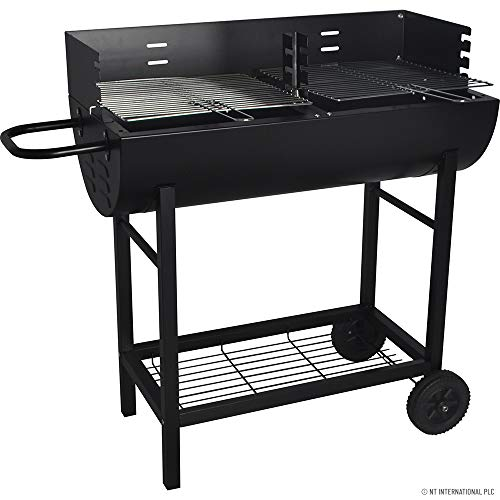 BARGAINS-GALORE HALF DRUM BARREL STEEL BBQ CHARCOAL GARDEN BARBECUE BLACK ADJUSTABLE GRILL