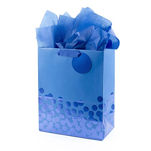 Hallmark 13' Large Gift Bag with Tissue Paper (Blue Foil Dots) for Hanukkah, Christmas, Birthdays, Fathers Day, Graduations, and Baby Showers
