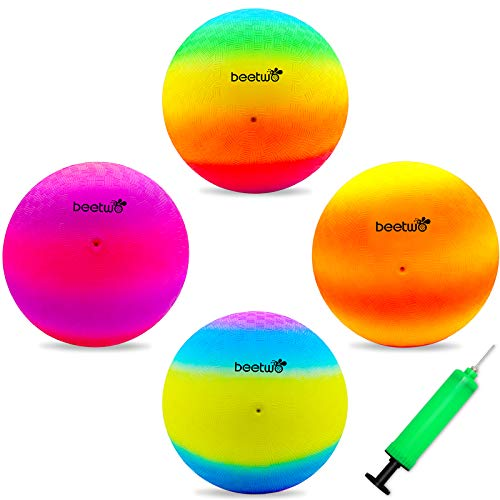 Four Square Balls, 8.5 Inch Playground Ball for Kids Outdoor Dodgeball Kickball Handball Game with Hand Pump (4 Pack)