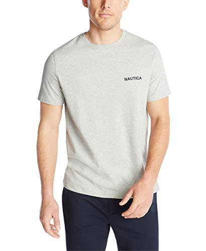 Nautica Men's Short Sleeve Solid Crew Neck T-Shirt, Grey Heather, X-Large