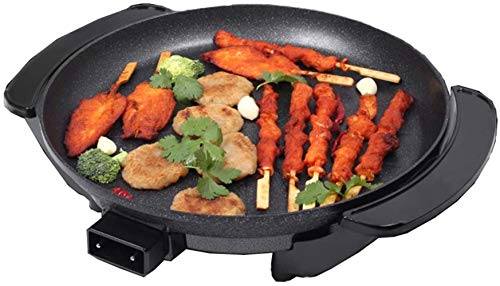 AQWESD BBQ Grill Round Electric Frying Pan Non-Stick Teppanyaki Grill Pan Table Top Breakfast Plate Diameter 36 cm 14 Inches Easy to Clean Adjustab
