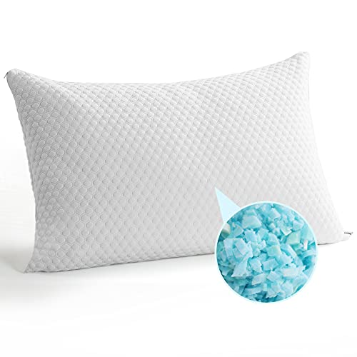 TEKAMON Bed Pillows for Sleeping Shredded Memory Foam Pillow 1 Pack, King Breathable, Soft, Pillow with Cooling, Hypoallergenic Bamboo Cover - CertiPUR-US
