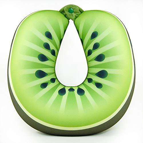 Fruta U Forma Almohada De Viaje,portátil PP Algodón Almohada De Cuello Transpirable Soporte Cuello Cabeza para Avión Tren Kiwi 50x60cm(19.6x23.6in)