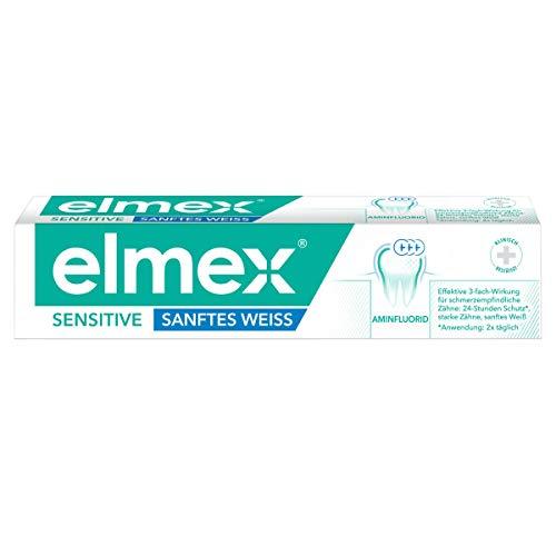 elmex Zahnpasta SENSITIVE Sanftes Weiß, 75 ml - Zahnpasta für empfindliche Zähne, entfernt Verfärbungen sanft und gründlich