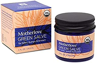 Motherlove-Green Salve, All-Purpose Herbal Ointment for Bumps, Bites, and Bruises, Family Friendly Creamy Balm, Relief for Itchy Skin, Natural Salve for Skin Irritations, USDA Cert. Organic, 1 oz.