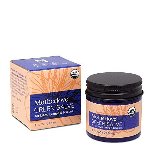 Motherlove Green Salve (1 oz.) Kid-Friendly Herbal Ointment for Bumps, Bites, and Bruises - Itchy Bug Bite Relief, Organic & Cruelty-Free
