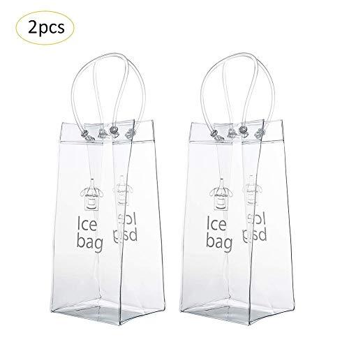 Hearthrousy 2 STÜCKE Ice Bag Weinkühler Sektkühler Bag Flaschenkühler Tasche Outdoor PVC Auslaufsicher Umweltfreundlich Transparent Pack Tragbare Eimer Chiller Mit Tragegriff