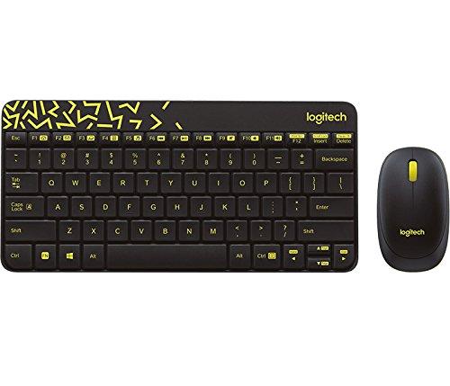 Logitech MK240 NANO toetsenbord RF Wireless Russisch Black, geel - toetsenborden (standaard, draadloos, RF Wireless, zwart, geel, muis inbegrepen)