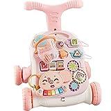 LFFME El Último Cochecito para Niños Pequeños, Uso 3 En 1 como Juguete para Empujar, Andador Interactivo para Bebés con Tiro Y Música,B