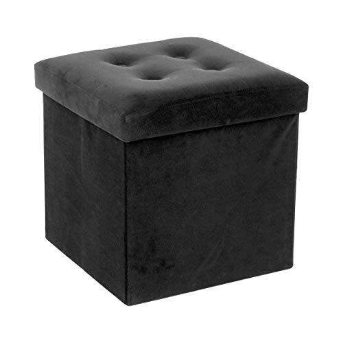 LEMON TREE SL Puff baúl de almacenaje Cuadrado y Plegable multifuncion.Terciopelo Negro