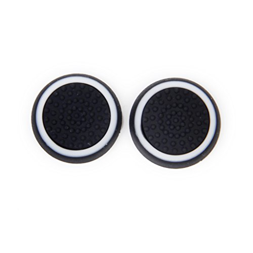 Paar Spiel Joystick Thumbstick Kappe Kappen PlayStation 4 PS4 Controller-Schwarz + weiß