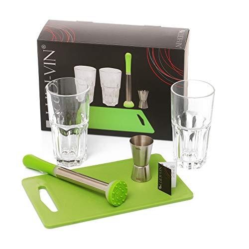 LUDI-VIN Set Mojito (Pilon/Planche/2 Verres/Doseur à Alcool )