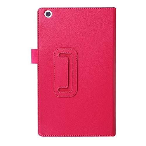 Funda Protectora de Folio para Lenovo Tab 3 8 8,0 Pulgadas TB3-850F / TB3-850M PU Cuero Libro Tablet PC Litchi Funda con Soporte-Rosa roja