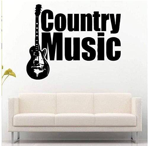 Country Musik Wort Gitarre Musikinstrument Musikzimmer Tapete Wandaufkleber Dekoration Vinyl Wandtattoo Wohnzimmer Kunst Wandbild 78X57Cm