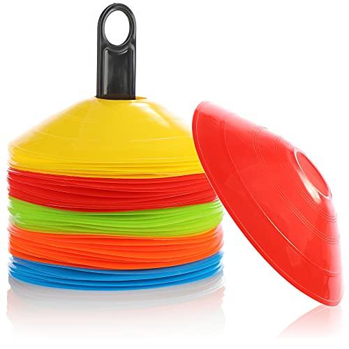Robin Goods® 50x Conos de marcaje - Conos para el Entrenamiento y el Ocio - Conos de fútbol en 5 Colores - Accesorios de Entrenamiento para fútbol, Balonmano, Hockey ⭐
