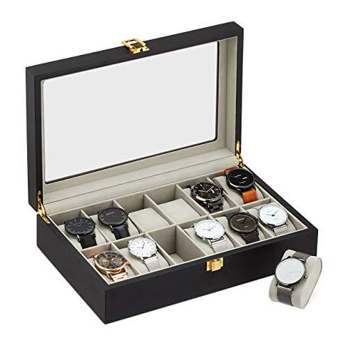 Relaxdays Uhrenbox, 12 Fächer, Glas-Sichtfenster, Kratzschutz, Samtbezug, Holz, Uhrenkasten, HBT 8 x 31 x 20 cm, schwarz