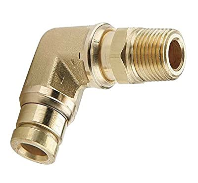 """Parker Hannifin Male Elbow 90 Degree Prestomatic Fitting, 1/4"""" Push-to-Connect Tube x 1/4"""" Male NPTF"""