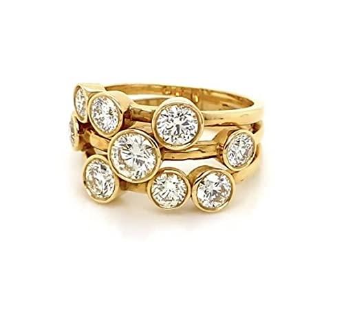 Anello Raindance in oro giallo 18 carati con diamante rotondo da 2,00 ct, Diamante, diamante,