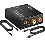 PROZOR 192KHz Digital to Analog Audio Converter DAC Digital SPDIF Optical to Analog L/R RCA Converter Toslink Optical to 3.5mm Jack Adapter for PS3 HD DVD PS4 Amp Apple TV Home Cinema