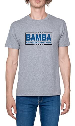 Bamba Make Orlando Great Again Camiseta para Hombre Gris De Manga Corta Ligera Informal con Cuello Redondo Men's Tshirt Grey S