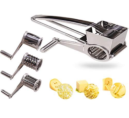 Vegetable Cheese Grater with 3 Interchanging Rotary Ultra Sharp Cylinders Stainless Steel Drums & Slicer