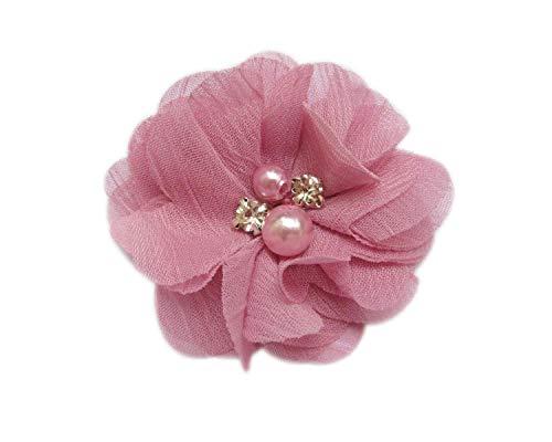 YYCRAFT 20 piezas de flores de gasa de 5 cm con perlas de diamantes de imitación para boda, accesorio de pelo nupcial/DIY proyectos de manualidades, color rosa