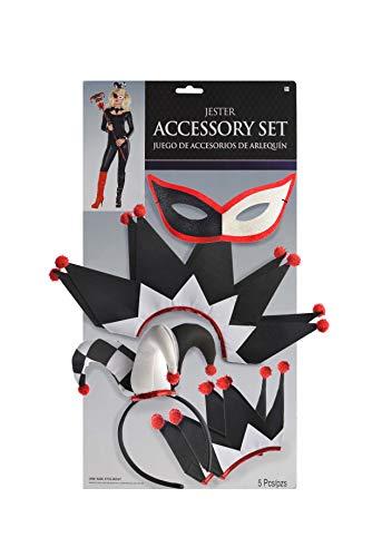 Amscan 847229-55 - Kostümset für Narren, 5-teiliges Set aus Maske, Haarreif, Halsschmuck und zwei Manschetten, Rot-Schwarz-Weiß, Einheitsgröße, aus Polyester, Halloween, Karneval, Verkleidung, Kostüm