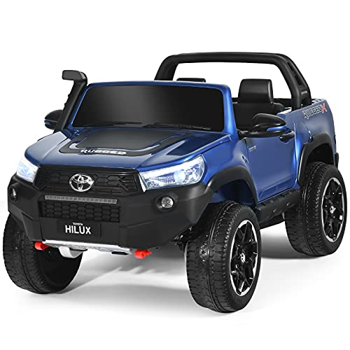 Costzon 24V Ride on Car, 2-Seater Licensed Toyota Hilux Truck w/ Remote Control, Storage, MP3, Light, Openable Door, 3 Speed, Music, 4WD Battery Powered Electric Cars for Kids Boy Girl 3-8 Years, Blue
