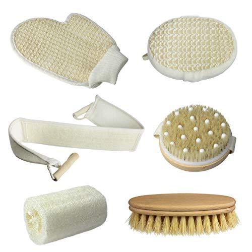 Set Esfoliante Corpo, Gambe, Schiena e Viso. Set cura della pelle: Guanto, spazzola massaggio, spazzola scrub, spugna loofah, fascia loofah e cotone.