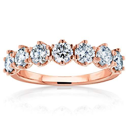 Kobelli 7-Stone Prong Set Moissanite Ring 1 1/10 Carat TW in 14k Rose Gold, 7.5