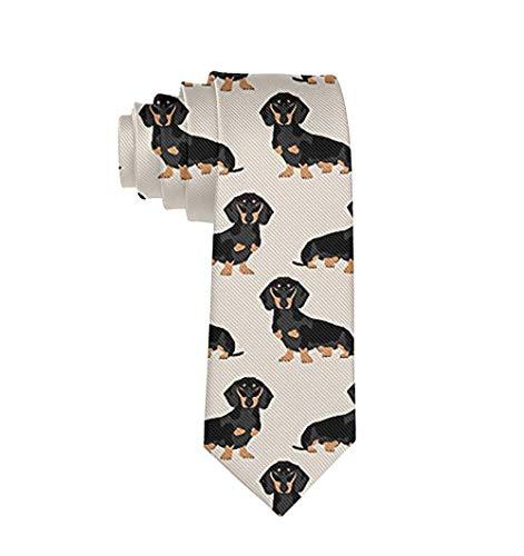 COLORFULSKY Herren Krawatte/Krawatte mit Wiener Hund Dackel Weiner Polyester Seide weich Business Gentleman Krawatte - Weiß - Einheitsgröße