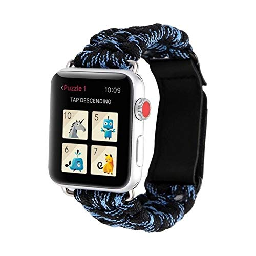 SGGFA De IWatch Pulsera Series IWATCH Aire Libre Survival Correa Cuerda for IWATCH Band 44 Mm 40 mm 42 mm 38 mm de Cuero 5 4 3 2 1 44 mm (Band Color : Black Blue, Band Width : 42mm or 44mm)