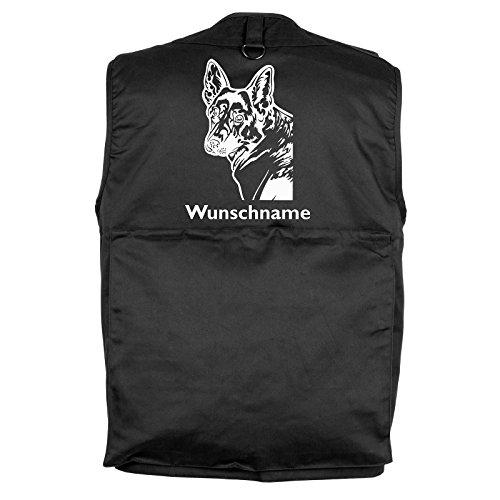 Tierisch-tolle Geschenke Deutscher Schäferhund - Hundesportweste mit Rückentasche und Namen (L)