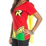 DC Comics Robin Juniors Red V-Neck Cape T-Shirt-Red