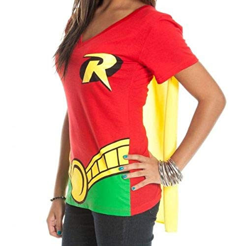 DC Comics Robin Juniors Red V-neck Cape Tee, Red, Small