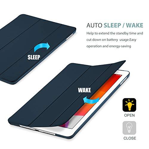 Procase Hülle für iPad 10.2 Zoll 2020 8th Gen/2019 7th Gen, Dreifach Falt Klapp Schutzhülle Case, Ultra Dünn Leicht Smart Cover mit Translucent Frosted Rück –Navy