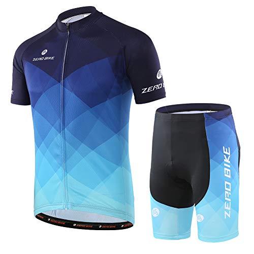 Hommes Vélo Cyclisme Respirant à séchage Rapide Maillots Set, Jersey Cycle Manches Courtes Veste + 3D Coussin Rembourré Serré Shorts Pantalon