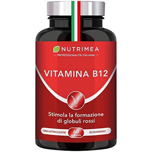 VITAMINA B12 Vegan 1000 mcg | Integratore Vegan | Cianocobalamina Unica Vtamina B12 Al 100% Vegana | 60 Capsule Di Origine Vegetale |
