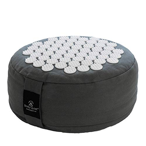 Body Quiet Meditation Cushion with Acupressure for Stress Relief | Large 13' x 6' Buckwheat Meditation Pillow Floor Pillow| Zafu Yoga Pillow with Easy-Handle | Includes 7-Step Meditation Guide (Gray)